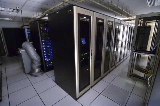 The interior of the computer room in the data center for the Clark County government is shown on Friday, April 3, 2015. (Bill Hughes/Las Vegas Review-Journal)