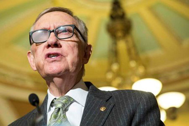 Senate Minority Leader Harry Reid, D-Nev., speaks during a press conference on Capitol Hill in Washington, March 17, 2015. (Reuters/Joshua Roberts/Files)
