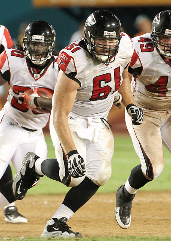 Former UNLV offensive lineman Joe Hawley out blocking for the Atlanta Falcons. (Courtesy of UNLV sports information department)