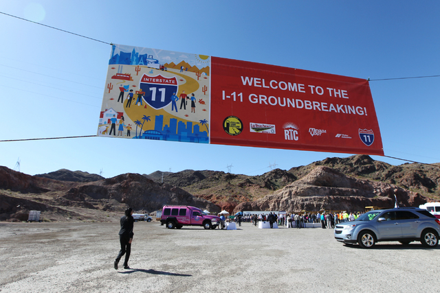 A sign welcomes attendees to the ground breaking ceremony for the I-11 Boulder City bypass project in Boulder City, Nev., Monday, April 6, 2015. (Erik Verduzco/Las Vegas Review-Journal) Follow Eri ...