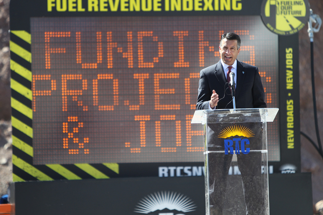 Nevada Gov. Brian Sandoval speaks during the ground breaking ceremony for the I-11 Boulder City bypass project in Boulder City, Nev., Monday, April 6, 2015. (Erik Verduzco/Las Vegas Review-Journal ...