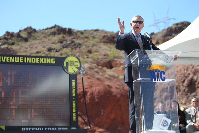 U.S. Sen. Harry Reid, D,Nev., speaks during the ground breaking ceremony for the I-11 Boulder City bypass project in Boulder City, Nev., Monday, April 6, 2015. (Erik Verduzco/Las Vegas Review-Jour ...