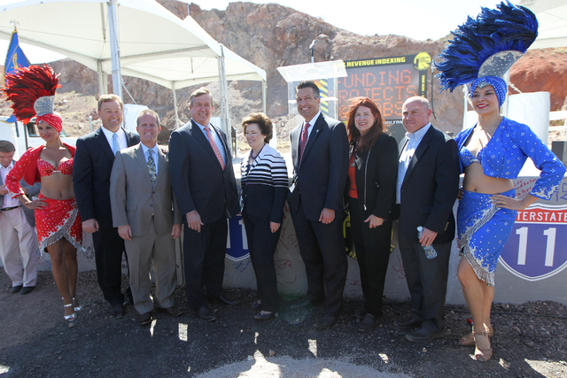 Nevada dignitaries from left, U.S. Sen. Dean Heller, R-Nev., Lt. Gov. Mark Hutchinson, U.S. Cresent Hardy, R-Nev., Clark County Commissioner Mary Beth Scow, Gov. Brian Sandoval, Henderson councilw ...