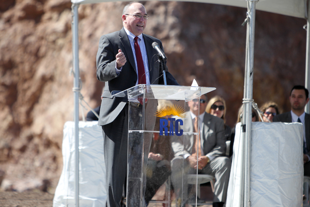 Deputy Federal Highway Administrator Gregory Nadeau speaks during the ground breaking ceremony for the I-11 Boulder City bypass project in Boulder City, Nev., Monday, April 6, 2015. (Erik Verduzco ...