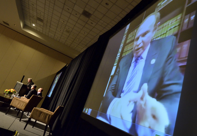 New Jersey Sen. Ray Lesniak is shown on a monitor during a Skype chat with attendees at the iGaming Business North America conference at the Planet Hollywood hotel-casino at 3667 Las Vegas Blvd. S ...