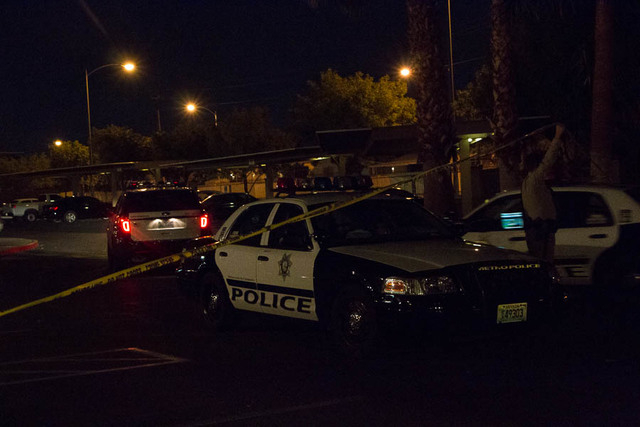 Las Vegas police and the Clark County Fire Department responded just before 6 p.m., Saturday, April 4, 2015, to a vehicle fire at the Arcadia Palms apartment complex, 3655 E. Sahara Ave. Two child ...