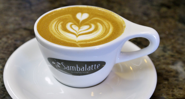 A flat white latte is shown at at Sambalatte Torrefazione Coffee Lounge and Espresso Bar at 750 S. Rampart Blvd. in Las Vegas on Tuesday, July 22, 2014. (Bill Hughes/Las Vegas Review-Journal)