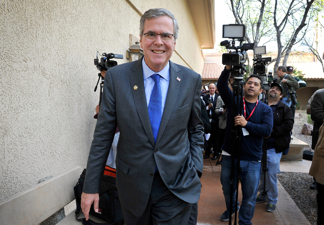 Former Florida Gov. Jeb Bush departs the Mountain Shadow Community Center in Sun City Summerlin after speaking to residents in Las Vegas Monday, March 2, 2015. (David Becker/Las Vegas Review-Journal)
