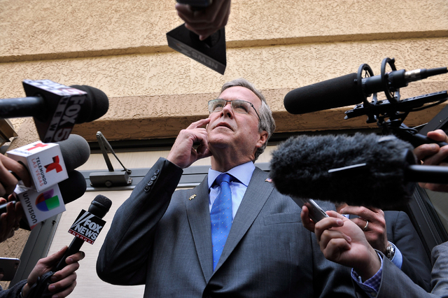 Former Florida Gov. Jeb Bush speaks with the media at the Mountain Shadow Community Center in Sun City Summerlin after speaking to residents in Las Vegas Monday, March 2, 2015. (David Becker/Las V ...