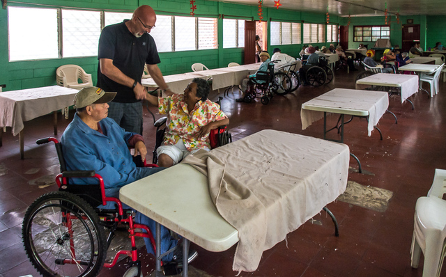 Charles Bloom, chief strategic officer of the Vital Life Foundation meets with patients from a nursing home in Jinotepe, Nicaragua, Jan. 2015. The Vital Life Foundation is a Marquis and Consonus f ...