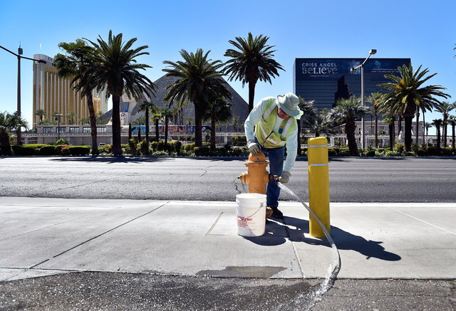 Pete Willenberg, corrosion control technician with the Las Vegas Valley Water District, runs water from a fire hydrant to simulate a water leak along the Strip in Las Vegas on Monday, April 13, 20 ...