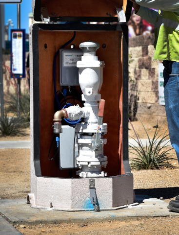 New electronic equipment is seen installed inside a water monitor station along the Strip in Las Vegas on Monday, April 13, 2015.  The water district recently upgraded their permanent leak detecti ...