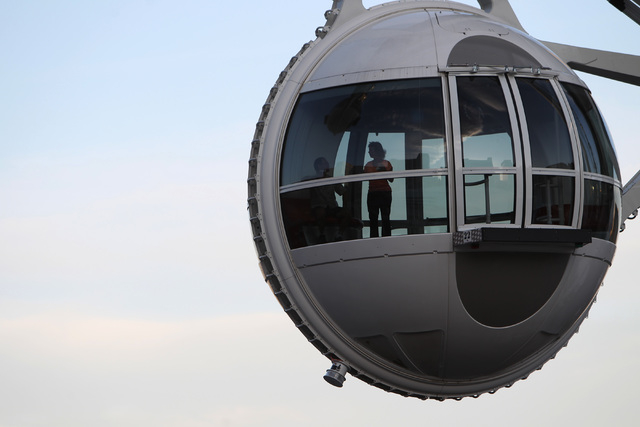 A patron is seen in a pod on the High Roller Tuesday, March 31, 2015. (Sam Morris/Las Vegas Review-Journal) Follow Sam Morris on Twitter @sammorrisRJ