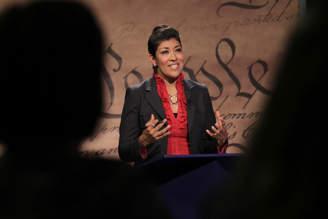 Assemblywoman Lucy Flores, D-Las Vegas, takes part in a debate for lieutenant governor against state Sen. Mark Hutchison, R-Las Vegas, Wednesday, Oct. 15, 2014 in a studio at Vegas PBS. (Sam Morri ...
