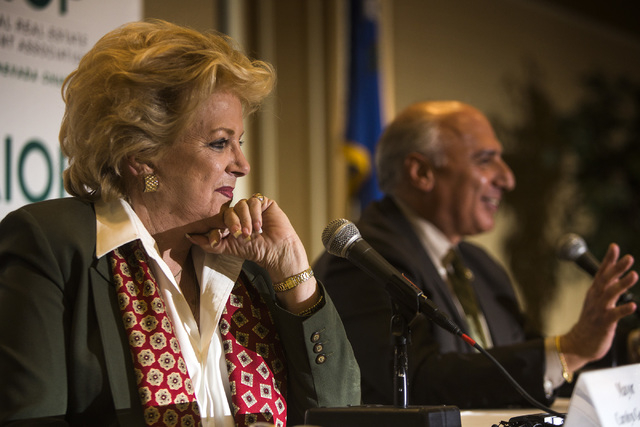 Las Vegas Mayor Carolyn Goodman and Las Vegas City Councilman Stavros Anthony speak at the Commercial Real Estate Development  Association luncheon and mayoral debate at The Orleans on March 19, 2 ...