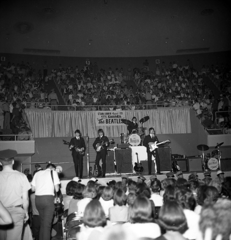 The Beatles perform on stage at the Las Vegas Convention Center on Aug. 20, 1964. (Courtesy Photo/Las Vegas Convention and Visitors Authority)