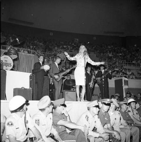 Jackie DeShannon performs at the Las Vegas Convention Center as one of the opening acts for The Beatles on Aug. 20, 1964. (Courtesy Photo/Las Vegas Convention and Visitors Authority)