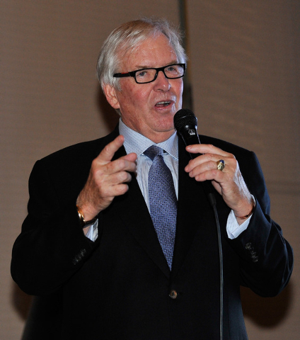 Bill Foley, the public face of an ownership group seeking to create an NHL team in Las Vegas, speaks during a promotional stop to sell season hockey tickets at the Southern Highlands Golf Club on  ...