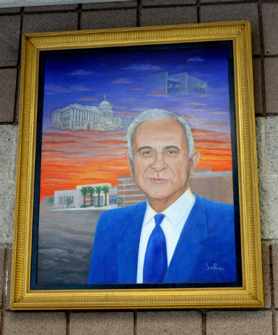In the office of Martinez Elementary School hangs a portrait of Reynaldo Martinez. (Michael Quine/View)
