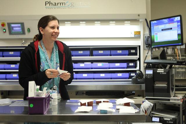 Senior pharmacy technician Shauna Henderson fills prescriptions inside the University Medical Center pharmacy in Las Vegas Wednesday, April 8, 2015. (Erik Verduzco/Las Vegas Review-Journal) Follow ...