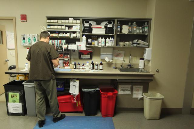 Pharmacy technician Craig Harding fills prescriptions inside the University Medical Center pharmacy in Las Vegas Wednesday, April 8, 2015. (Erik Verduzco/Las Vegas Review-Journal) Follow Erik Verd ...