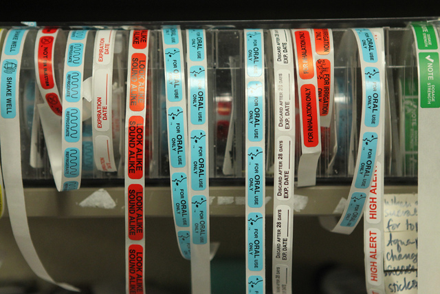 Instruction labels for prescriptions are seen inside the University Medical Center pharmacy in Las Vegas Wednesday, April 8, 2015. (Erik Verduzco/Las Vegas Review-Journal) Follow Erik Verduzco on  ...