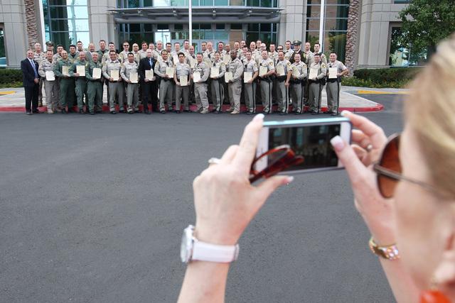 Award winners are photographed during Metro's commendation ceremony Wednesday, April 22, 2015. (Sam Morris/Las Vegas Review-Journal) Follow Sam Morris on Twitter @sammorrisRJ
