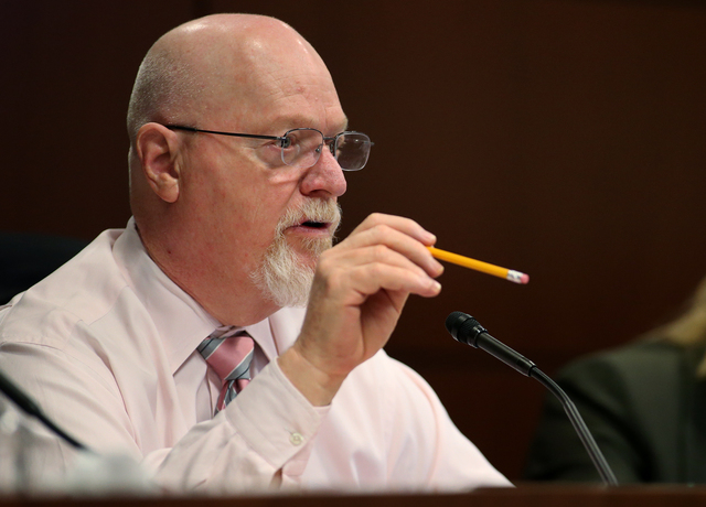 Nevada Assemblyman Randy Kirner, R-Reno, works in committee at the Legislative Building in Carson City, Nev., on Wednesday, Feb. 11, 2015. Kirner introduced a bill Wednesday that would increase th ...