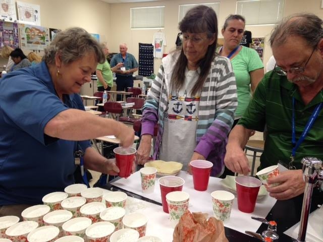 Instructor DD LaPointe shows teachers how to mimic fossil formation using plaster March 31, 2015, at the Southern Nevada Teachers Workshop. (Special to View)
