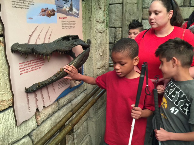 Nevada Blind Children's Foundation students Christian Lowe and Dylan Diaz learn about crocodiles at Shark Reef at Mandalay Bay as part of a field trip during Nevada Blind Children's Foundation ...