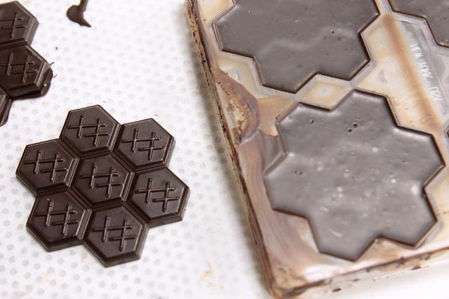 Finished chocolate is seen next to a chocolate mold at Hexx at Paris Las Vegas Friday, April 3, 2014. (Sam Morris/Las Vegas Review-Journal) Follow Sam Morris on Twitter @sammorrisRJ