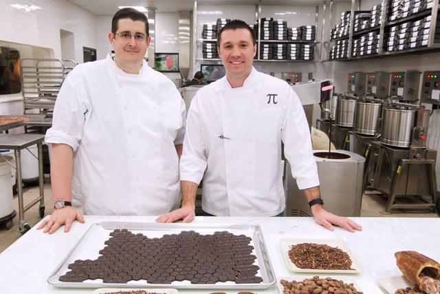 Chocolate maker Matthew Silverman, left, and executive chef Matt Piekarski are seen in the kitchen at Hexx at Paris Las Vegas Friday, April 3, 2014. (Sam Morris/Las Vegas Review-Journal)