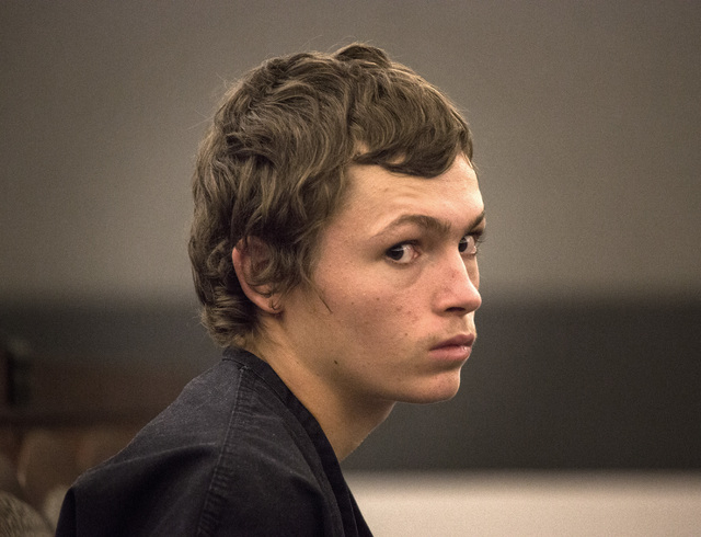 Erich Nowsch, 19, appears in court at the Regional Justice Center, 200 Lewis Ave., in Las Vegas, March 26, 2015, for his plea hearing in connection with the shooting death of 44-year-old Tammy Mey ...