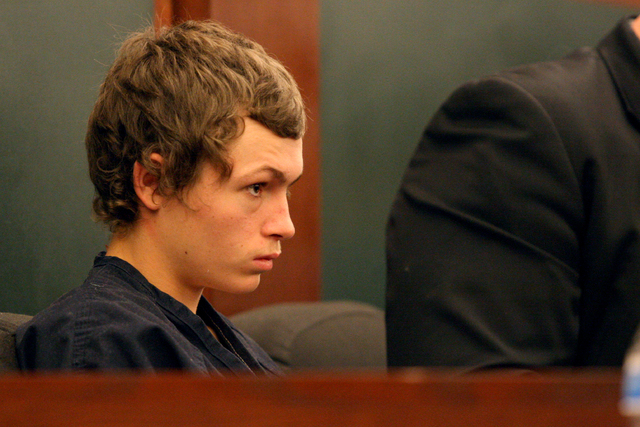 Erich Nowsch, the 19-year-old man suspected of fatally shooting Tammy Meyers, plead not guilty at the Regional Justice Center on Thursday, March 12, 2015. (Michael Quine/Las Vegas Review-Journal)