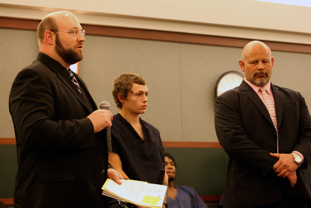 Erich Nowsch, the 19-year-old man suspected of fatally shooting Tammy Meyers, stood with his attorneys, Augustus and Conrad Claus, in the court room of Judge Michael P. Villani and plead not guilt ...