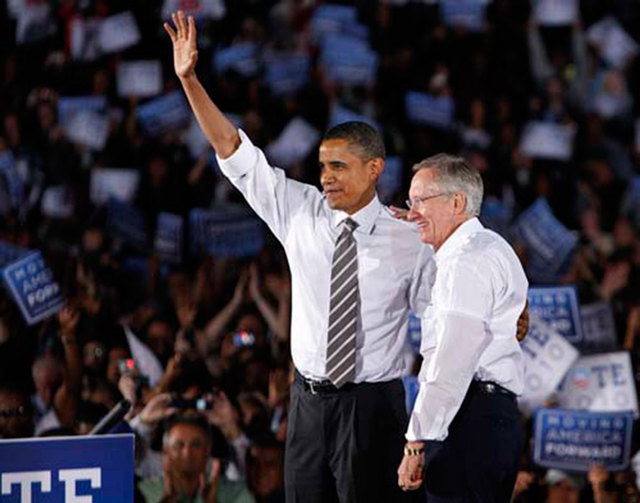 President Barack Obama campaigned for Sen. Harry Reid during a rally for Reid's re-election at Orr Middle School on Oct. 22, 2010. (John Locher/Las Vegas Review-Journal)