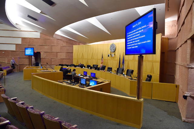 A general view of the public fact-finding review of the officer involved shooting of Ronald Tate at the Clark County Government Center on Friday, April 17, 2015, in Las Vegas. Tate was killed by p ...