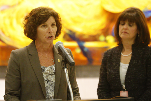 Anne Maricich, left, acting director of field operations at U.S. Customs and Border Protection in Los Angeles, with Rosemary Vassiliadis, director for the Clark County Department of Aviation, spea ...