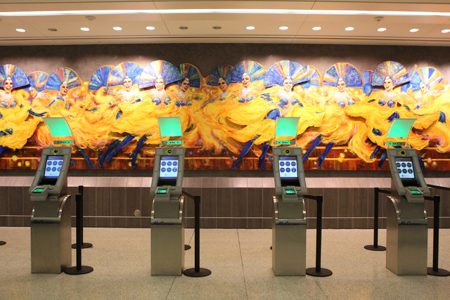 Newly installed Automated Passport Control kiosks are seen at the U.S. Customs Arrivals Hall in Terminal 3 at McCarran International Airport in Las Vegas Tuesday, April 14, 2015. (Erik Verduzco/La ...