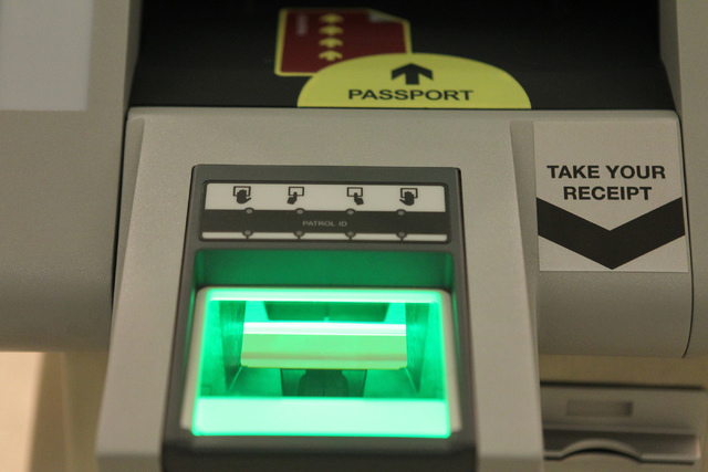 A  newly installed Automated Passport Control kiosk is seen at the U.S. Customs Arrivals Hall in Terminal 3 at McCarran International Airport in Las Vegas Tuesday, April 14, 2015. (Erik Verduzco/L ...