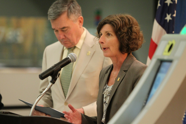 Anne Maricich, right, acting director of field operations at U.S. Customs and Border Protection in Los Angeles, with Gil Kerlikowske, commissioner for U.S. Customs and Border Protection, speaks du ...