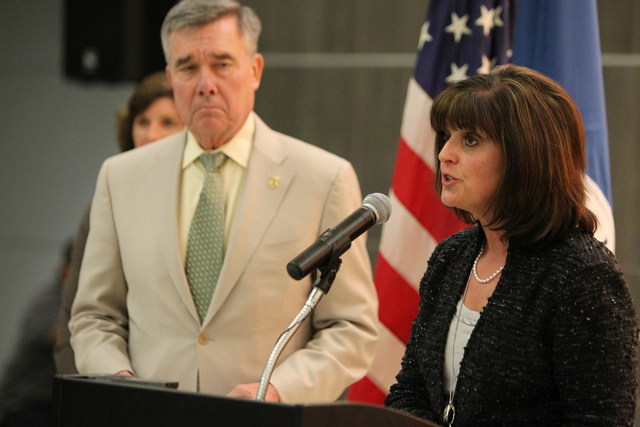 Rosemary Vassiliadis, right, director for the Clark County Department of Aviation, with Gil Kerlikowske, commissioner for U.S. Customs and Border Protection, speaks during a press conference on th ...
