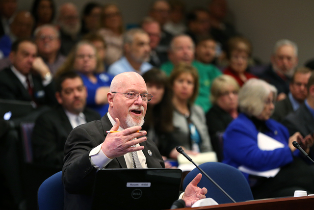 Nevada Assemblyman Randy Kirner, R-Reno, proposes a bill to change the public employee retirement system at a hearing at the Legislative Building in Carson City on Tuesday, March 3, 2015. Teacher, ...