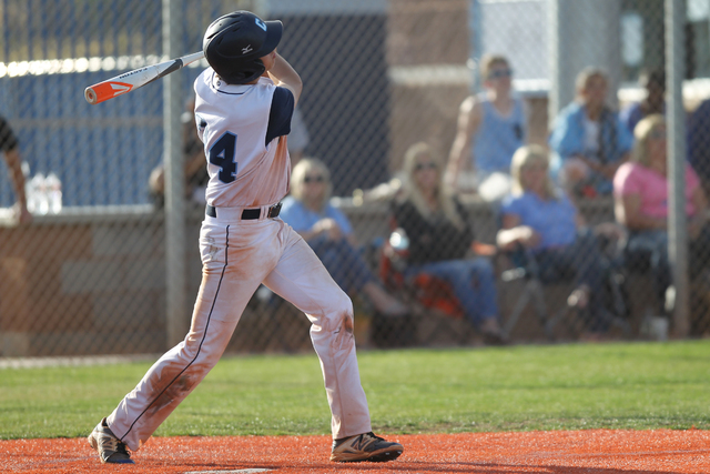 Centennial's Kyle Horton (34) swings the bat for a home run against Chatsworth in their baseball game at Centennial High School in Las Vegas Wednesday, April 1, 2015. Centennial won 11-5. (Erik Ve ...