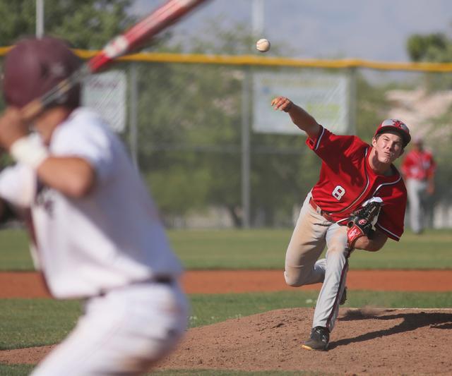 Arbor View's Sam Pastrone pitches during a baseball game against Cimarron-Memorial at Cimarron-Memorial High School Tuesday, April 14, 2015, in Las Vegas. (Ronda Churchill/Las Vegas Review-Journal)