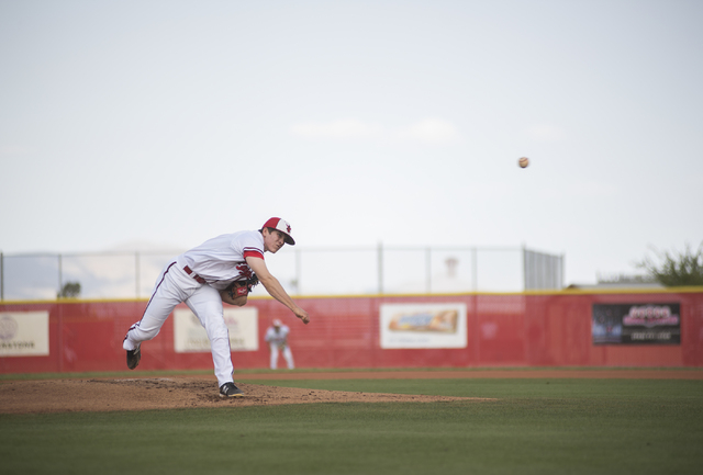 Arbor View's Sam Pastrone (8) pitches against Desert Oasis during their baseball game at Arbor View High School in Las Vegas on Wednesday, April 22, 2015. (Martin S. Fuentes/Las Vegas Review-Journal)