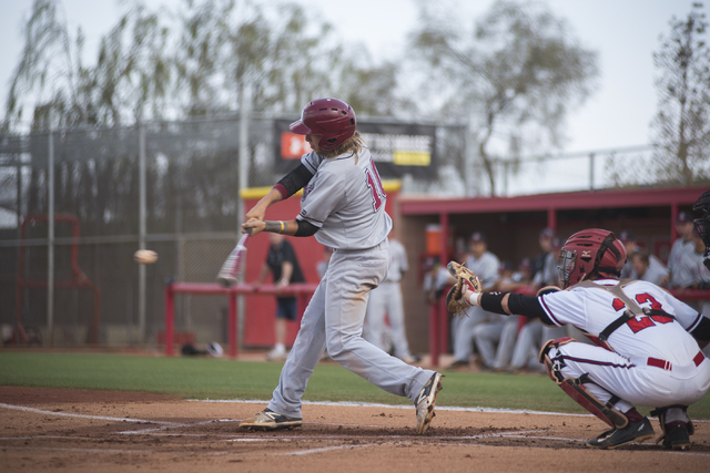 Desert Oasis Bryson Stott (10) swings at a pitch against Arbor View during their baseball game at Arbor View High School in Las Vegas on Wednesday, April 22, 2015. (Martin S. Fuentes/Las Vegas Rev ...