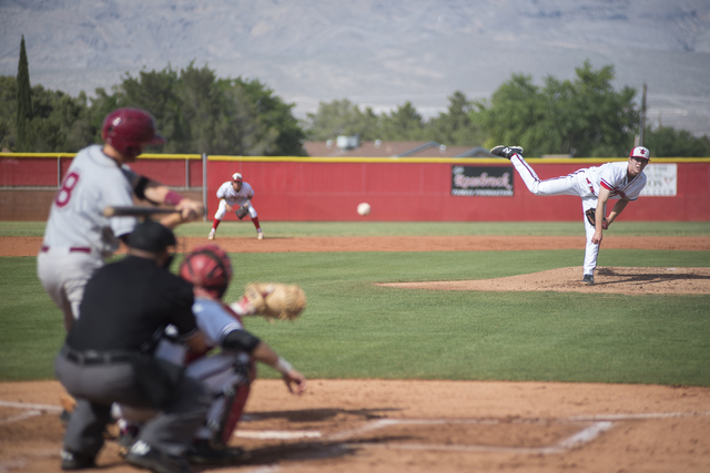Arbor View's Sam Pastrone (8) pitches to Desert Oasis Chase Adams (8) during their baseball game at Arbor View High School in Las Vegas on Wednesday, April 22, 2015. (Martin S. Fuentes/Las Vegas R ...