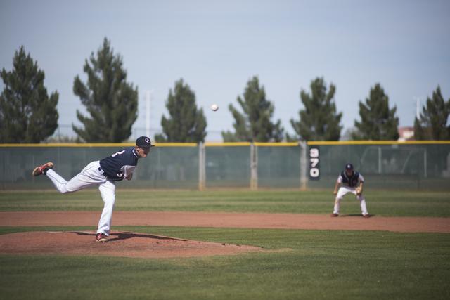 Coronado's Zach Dunham (3) pitches against Basic during their baseball game at Coronado High School in Henderson on Thursday, April 30, 2015. (Martin S. Fuentes/Las Vegas Review-Journal)