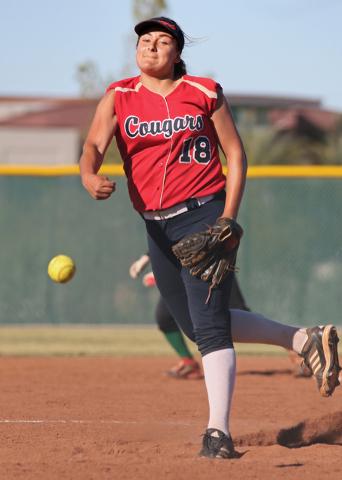 Coronado's Jillian James pitches during a softball game against Rancho at Coronado High School Wednesday, April 8, 2015, in Henderson. Coronado won 3-2. (Ronda Churchill/Las Vegas Review-Journal)
